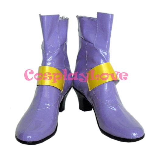 Magical Girl Lyrical Nanoha Fate Testarossa Harlaown Purple Cosplay Shoes Boots Hand Made Custom-made For Halloween Christmas