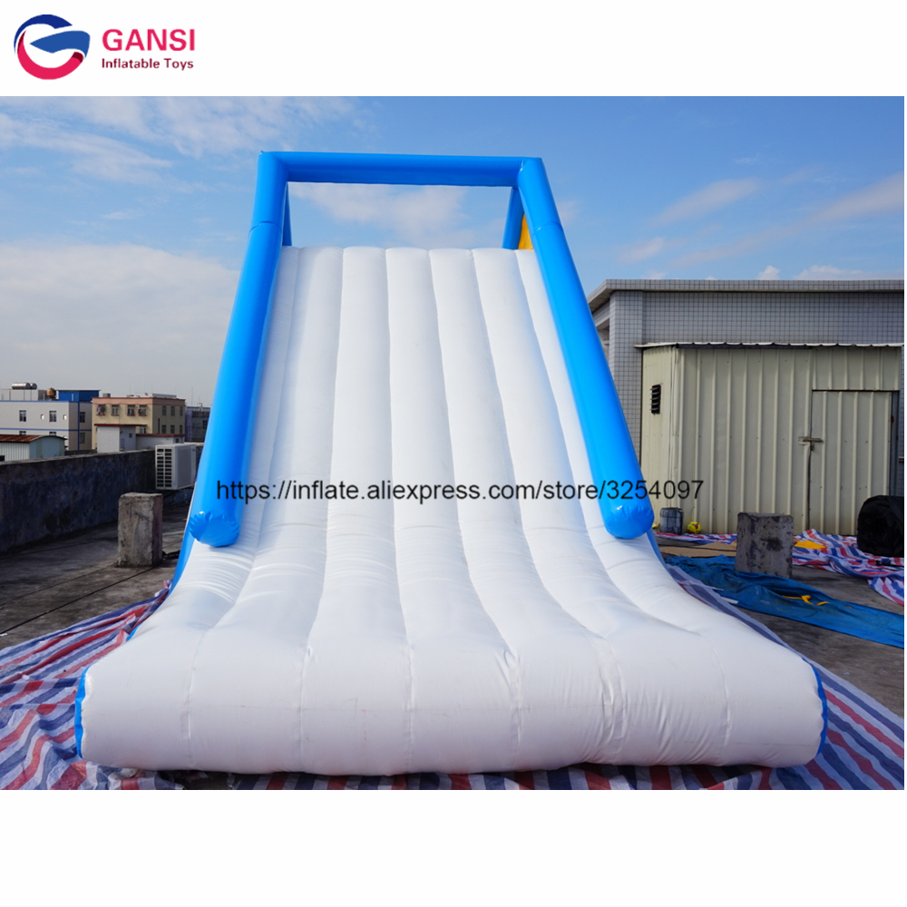 8*3*4m promotion inflatable slide for water park PVC durable floating inflatable water slide climbing tower for sale with pump commercial inflatable water slide with pool made of pvc tarpaulin from guangzhou inflatable manufacturer