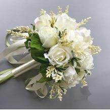 2018 باقة الزفاف للعرائس امرأة Mariage باقات زفاف اصطناعية زهور الورد حامل لوازم