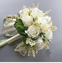 2020 Bouquet da sposa per Le Spose Donna Mariage Bouquet Da Sposa Artificiale Rosa Fiori Forniture Titolare