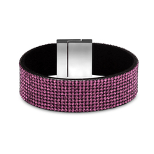 High Quality Bohemian pulseira Rhinestone Wide Magnetic Leather bracelets & bangles Wrap Charm For Women Handmade Jewelry