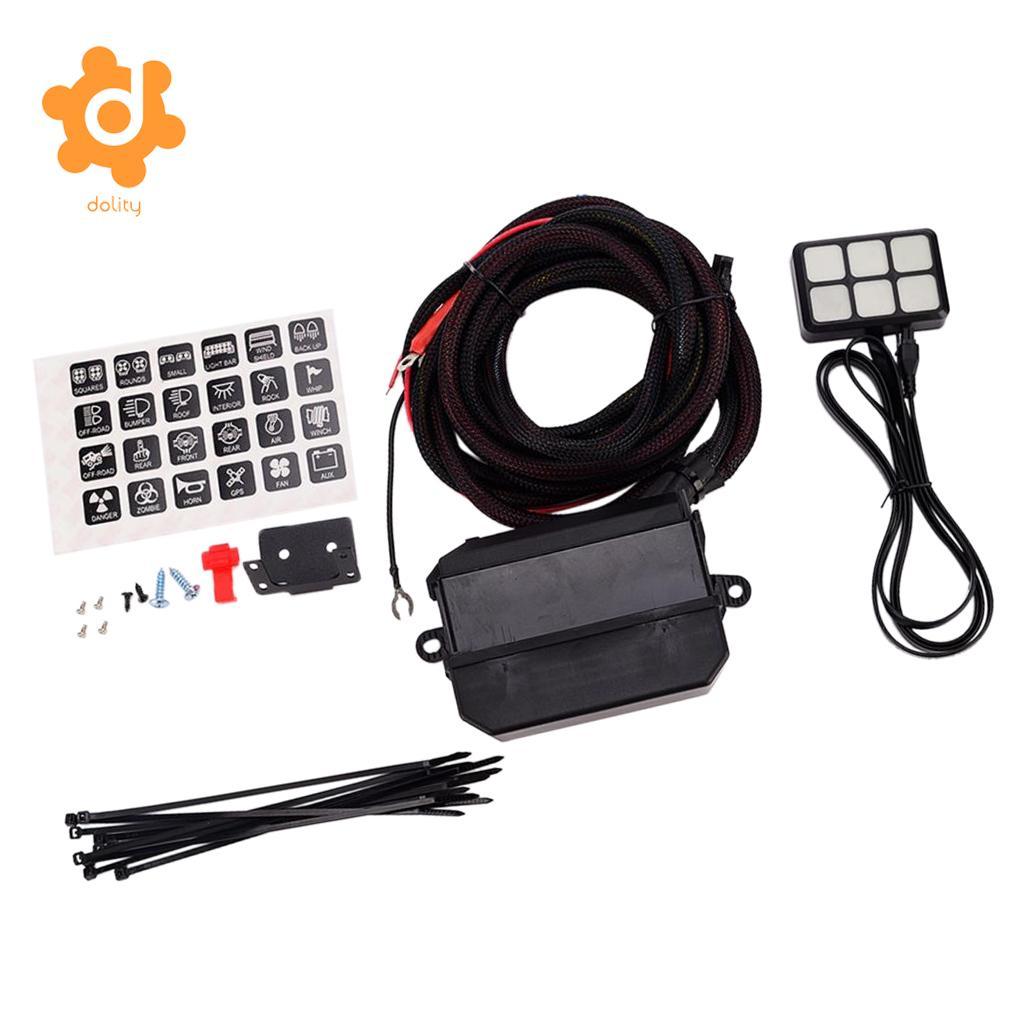dolity DC 12V 24V 6 Gang On Off Touch Switch Panel With Relay Fuse Holder Kit