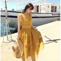 Линетт CHINOISERIE Летние оригинальные Дизайн Для женщин тонкий Винтаж кружева лоскутное желтые платья
