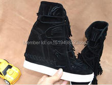 New Arrivals Wedge Height Increasing Lady Casual Shoes Suede Fringed Women Ankle Booties Tie Up Platform High Top Womans Shoes