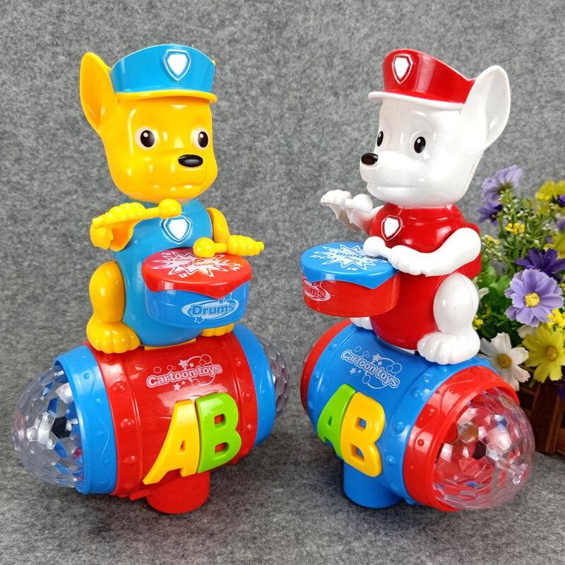Cute beat a drum Electronic dance Pet Patrol Dog Puppy cat Toys with Music Light for Children Cartoon Plastics Toy Anime Kids цена