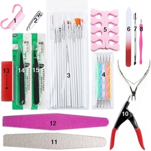 15 pcs/Set Nail Tools Set Manicure Set Nail Tip Trimmer UV Dotting Tool Drawing Painting Cuticle Nipper Nail Art Set For Nail