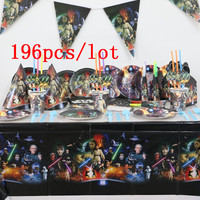 196 pcs/lot Disney Star Wars Theme Boy Birthday Party Supplies Christmas Paper Plate Blowout Banner Tablecloth Decoration Supply