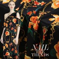 Flower Chains Print Stretch Silk Fabric for Dress Width 42 Inch