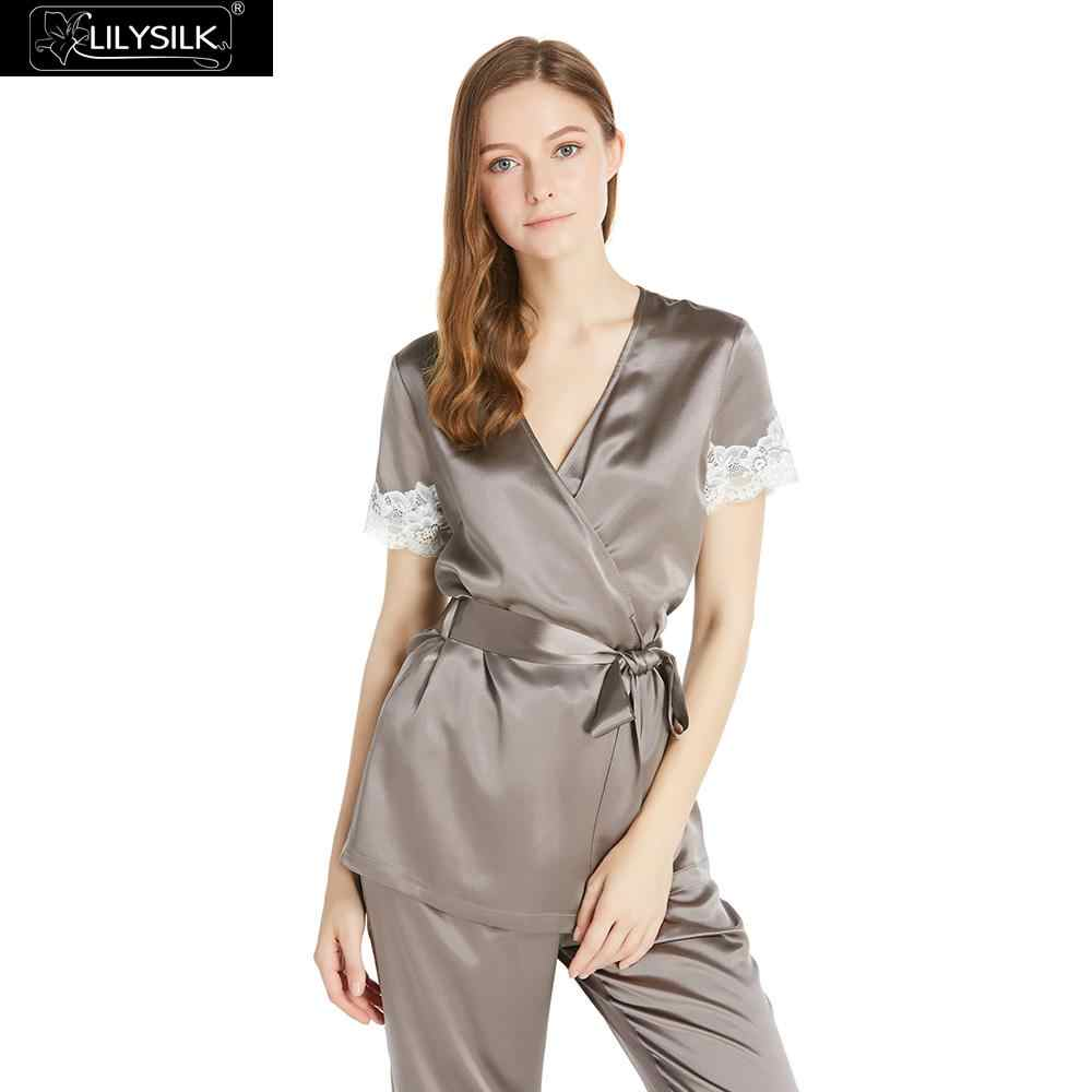 43e15edefaf8e LilySilk Pajamas Set Pijama Women Pure 100 Silk 22 momme Laced With Short  Sleeves Women s Clothing