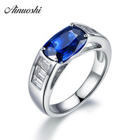 AINUOSHI Big 4 Carats Cushion Cut Blue Sona Rings 925 Sterling Silver Women Rings Wedding Engagement Anniversary Rings Jewelry