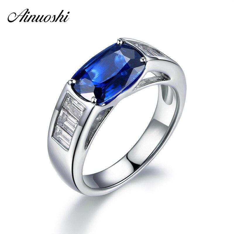 AINUOSHI gros 4 Carats coussin coupe bleu Sona anneaux 925 Sterling argent femmes anneaux de fiançailles de mariage anniversaire anneaux bijoux