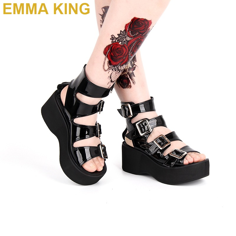 Black/White Leather Women Punk Rock Thick Platform Sandals Wedge Shoes Lolita Open Toe Buckle Strappy Gladiator Sandals BootsBlack/White Leather Women Punk Rock Thick Platform Sandals Wedge Shoes Lolita Open Toe Buckle Strappy Gladiator Sandals Boots