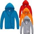 Outono Inverno moda Mens Sólidos Completa Zipper Com Capuz Hoodies Camisolas Dos Homens Casuais