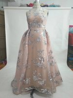 Brilliant Shinning Stunning Silver Sequined Flowers A Line Sleeveless Pink Middle East Wedding Dress 2017 New