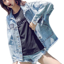Semfri Casual Blue Jeans Jacket 2019 Women Korean Fashion Pocket  Back Basic Denim Coat Outwear Harajuku Windbreaker Streetwear