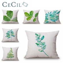 Cecil Watercolor Green leaves Pillow Cover Sofa Home Decoration Pillowcase Linen Cotton Pillow Case Cushion Office Pillowcase good mood watercolor circle with cross cotton and linen pillow case(without pillow inner)