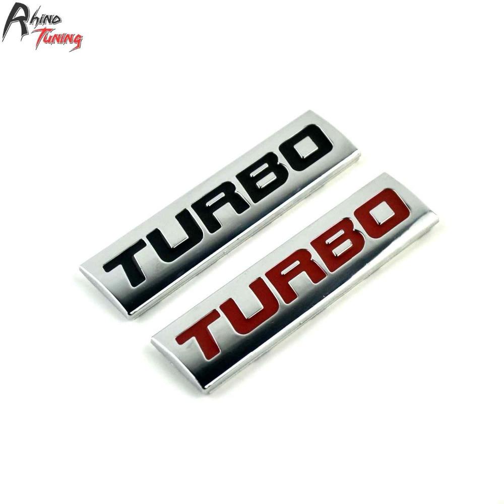 Rhino Tuning Turbo 2PC Car Emblem Auto Styling Sticker Metal Badge Decal Universal 683 auto car chrome turbodiesel turbo diesel emblem badge sticker