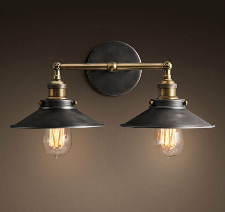 Nordic Light Loft Double Heads Wall Lamps Light American Country Retro Vintage Bar Restaurant Industry Iron Sconce Fixtures Home nordic retro wall lamp bedside light wrought iron lamps shade american country style restaurant bar industrial warehouse