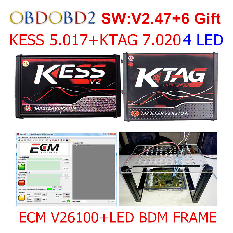 Мастер онлайн красный KESS V5.017 V2.47 + KTAG V7.020 V2.23 + светодиодный BDM кадр без маркеров KESS 5,017 + K-TAG K тег 7,020 ЭКЮ программист