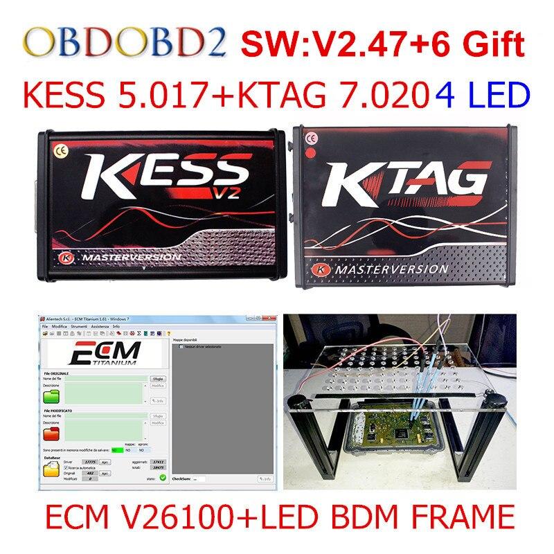 Master Online Red KESS V5.017 V2.47 + KTAG V7.020 V2.23 + LED BDM RAHMEN Kein Tokens KESS 5,017 + K-TAG K Tag 7,020 ECU programmierer