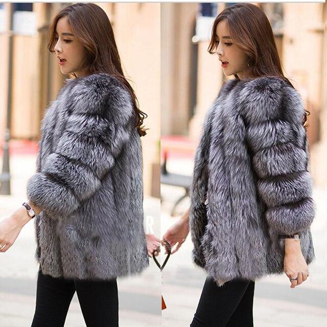 2016 Осень Зима шуба теплый Новый Silver Fox шуба верхняя одежда женская мода искусственный мех пальто плюс размер S-4XL