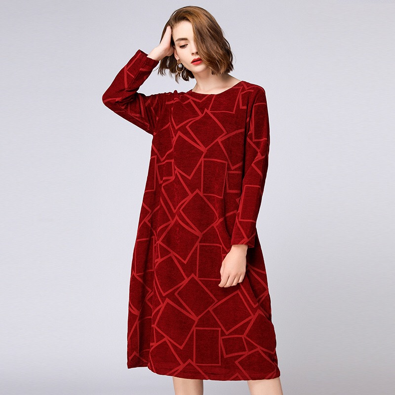 2018 Autumn Maternity Dress Casual Pregnancy Dress Elegant Plus Size Dress Pockets Full Boat Neck Geometric plus size floral embroidered v neck dress