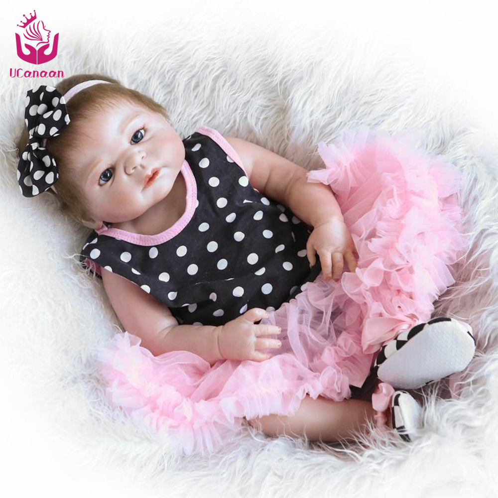 Full-Silicone-Baby-font-b-Doll black friday UCanaan 50-56cm Full Silicone Reborn Baby Dolls Princess  Adorable Kids Brinquedos Toy The Best gift for girls&daughter
