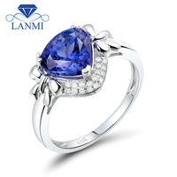 Female White Gold Diamond 14k Tanzanite Ring For Wedding Party Pear Cut 8x8mm Gemstone Loving Jewelry for Lady WU290