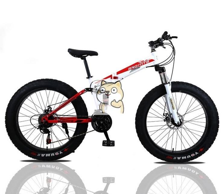 Углеродистая сталь скелет ATV снежный велосипед складной двойной демпфирования переключения дисковых тормозов горный велосипед 24 26 дюймов 4,0 широкий круглый жир шины