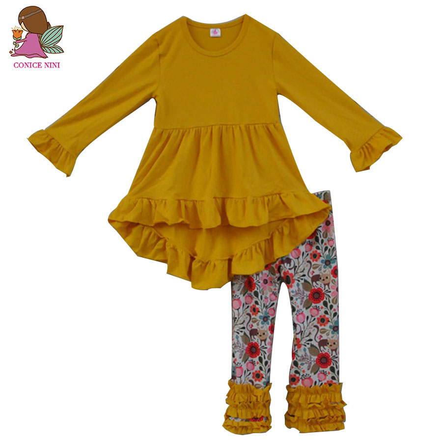 Fall Winter Fashion Toddler Girls Outfits Infant Yellow Ruffle Dress Kids Floral Pants 2 PCS Newborn Baby Girl Clothes Sets F103 все цены