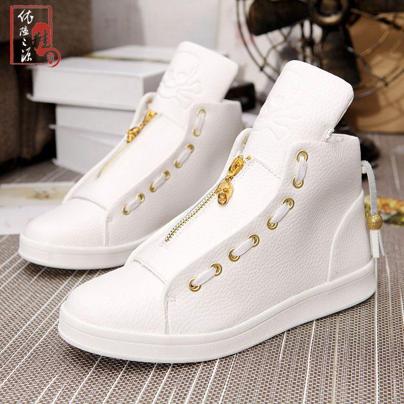 Zipper High Leather Akexiya Winter Shoes Design Top Gold Men Skull qpSUzMV