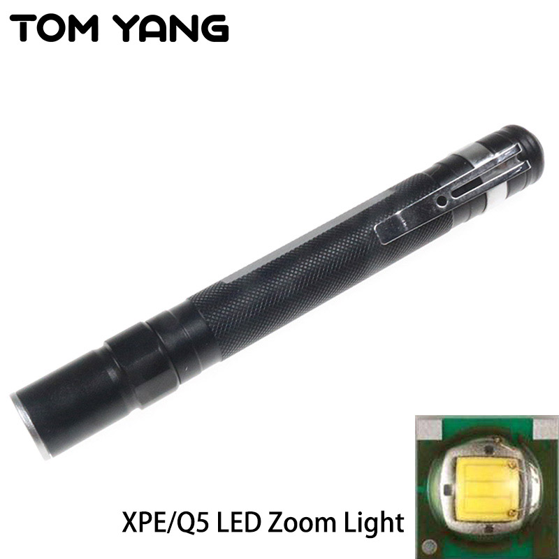 Cree XPE/Q5  LED Zoom Small Flashlight Mini Portable Clip Penlight Handy Powerful Pocket Torch Use 2*AAA Battery LED Flash Light free shipping tank007 e10 cree r3 flashlight led pocket clip medical light torch penlight aaa flashlight penlight medical