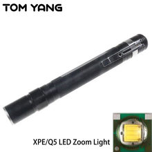 Cree XPE/Q5 LED Zoom Small Flashlight Mini Portable Clip Penlight Handy Powerful Pocket Torch Use 2*AAA Battery LED Flash Light(China)