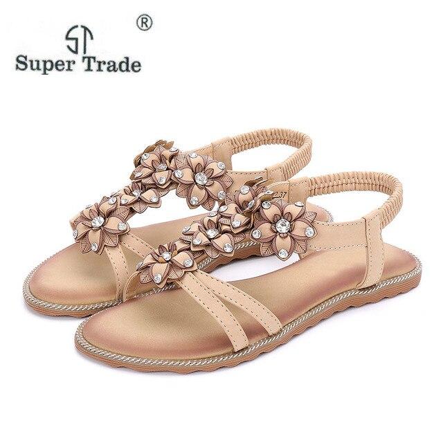 0991a71fcf0855 2018 New Comfortable Flats Female Bohemian Flower Sandals Beach Toe Spring  Summer Sandals Women Summer Shoes Size 35-41 F899-2
