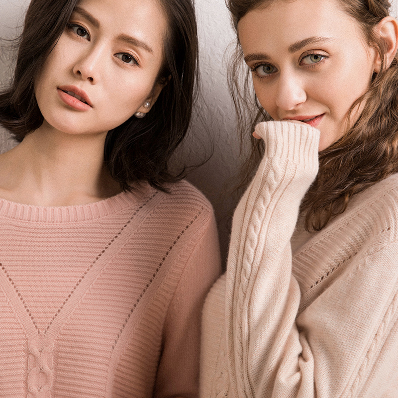 2018 Winter Hot Sales Women's Knitted Cashmere Sweater Circular Collar Solid Color High Quality Writhing Sleeves Pullovers