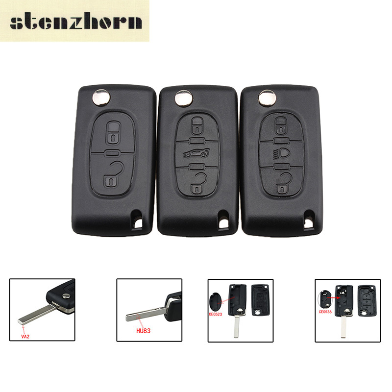 Stenzhorn 2/3/4Buttons Car key Case For Peugeot 207 307 308 407 607 807 for Citroen C2 C3 C4 C5 C6 Flip Folding Remote key Shell jingyuqin hu83 ce523 fob shell for peugeot 207 406 307 308 408 107 for citroen c2 c5 c6 xsara flip car key cover case 3 button