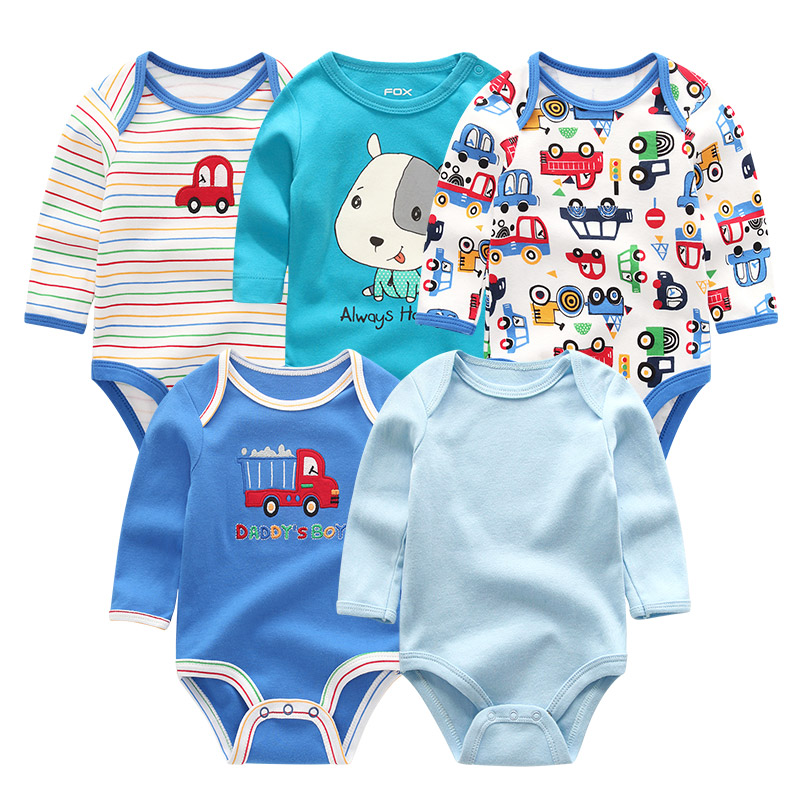 The Cheapest Price 5pcs/set Newborn Baby Clothes Full Sheeve Roupa De Bebes Cartoon 3-12m Boy&girl Clothing Cotton Infant Jumpsuit Baby Pajamas