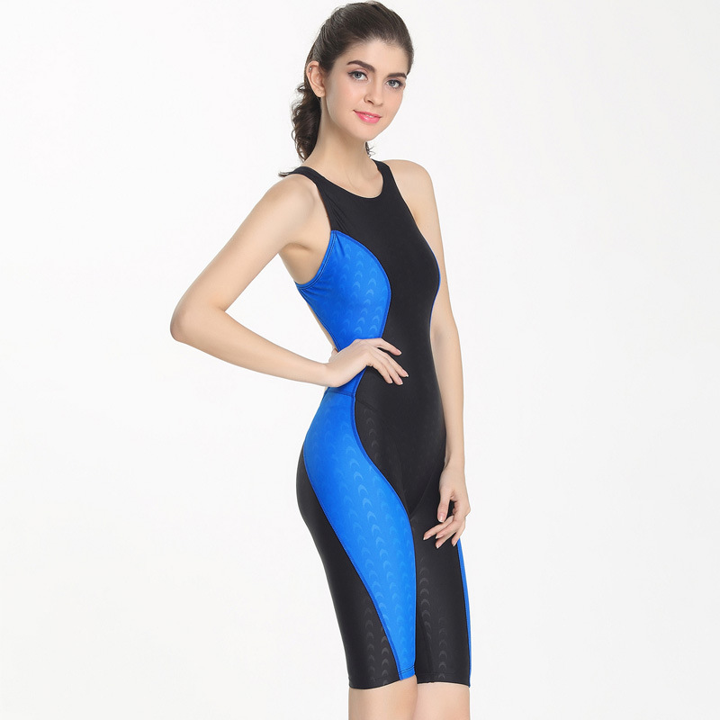 One-piece Racing Swimwear Waterproof Quick-drying Imitation Shark Skin Sports Professional Knees 5 Points Piece Swimsuit Woman niumo new professional swimsuit woman high collar one piece small breasts together big yards conservative