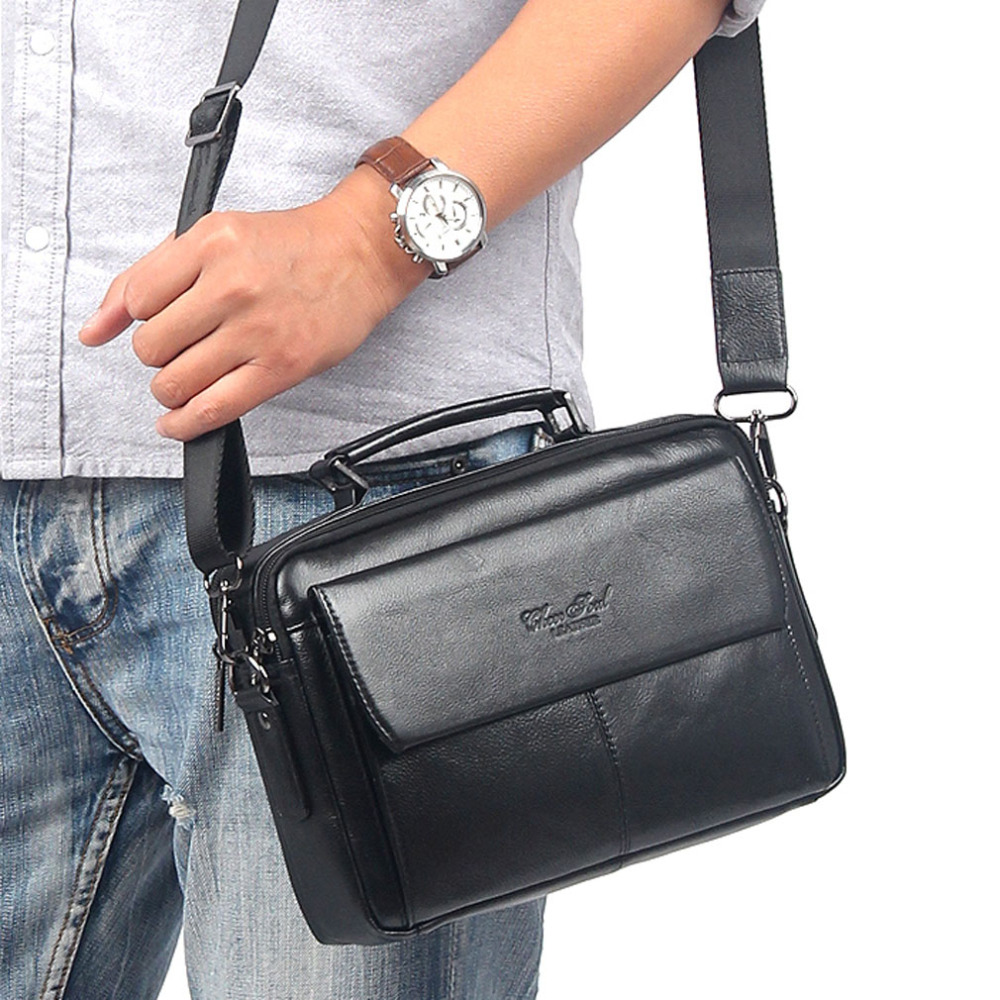 Famous Brand Men's Genuine leather First layer Business Messenger Shoulder Cross Body Bag Male Tote HandBag Purse Briefcase Bags vktery brand women handbag genuine leather vintage casual shoulder bag lady tote messenger cross body bags purse l7028