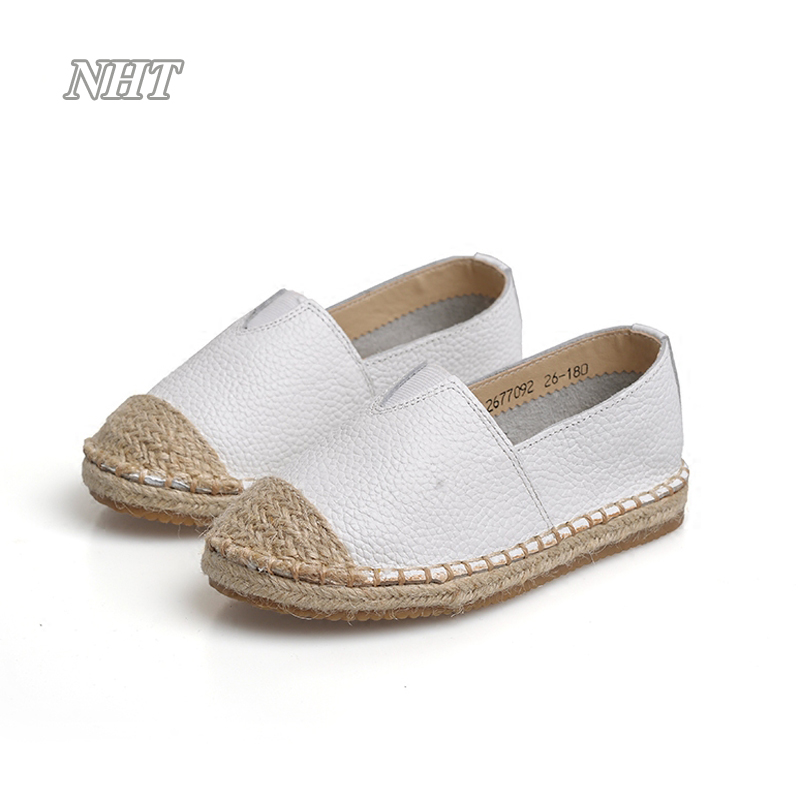 2017 new design famous kids espadrilles casual boy girls flat loafers leather moccasin slip on children