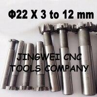 2PCS 22mmX3 4 5 6 8 10MM HSS T Slot Cutter End Milling Cutter Tools