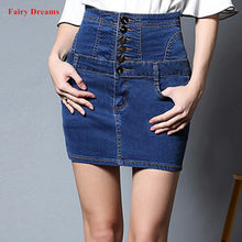 ed53a0562cf Womens Denim Skirts High Waist Button Lace Up Blue Black White Slim Skinny  Jeans Mini Skirt Plus Size 4XL Clothes Fairy Dreams