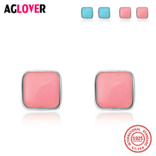 Authentic 925 Sterling Silver Geometric Classic Square Color Copal Stud Earrings for Women Fine Jewelry Bijoux