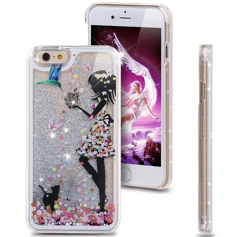 Girls Fashion Painted Transparent Dynamic Liquid Glitter Paillette Sand  Quicksand Back Case Cover for iphone 5 5G 5S 5SE-in Half-wrapped Case from  ... 31c2060ddd