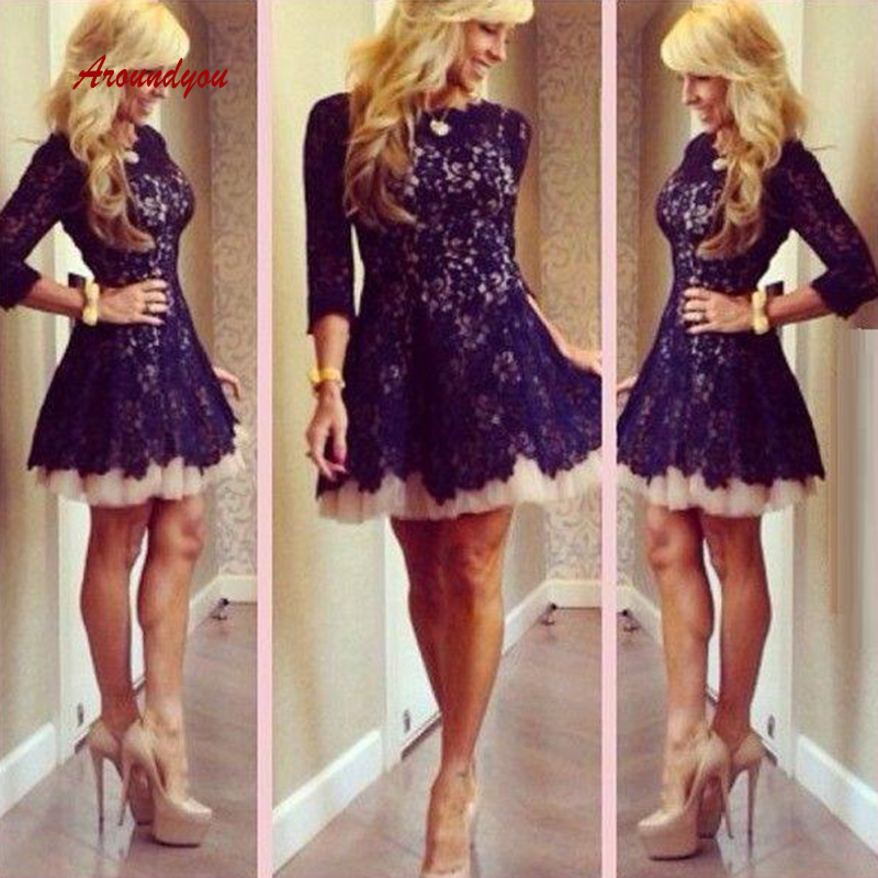 Sexy Lace Short   Cocktail     Dresses   Plus Size Navy Blue Mini Semi Formal Graduation Prom Party Homecoming   Dresses