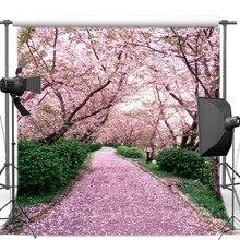Pink Cherry Blossom Tree Jardim Tema Cena Estrada Fundos Vinil contexto da parede de pano de Alta qualidade de impressão Computador