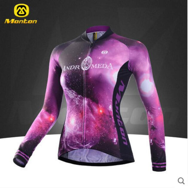 MONTON 2017 New Style Cycling Jersey For Women Mountain Bike Top Clothing Breathable Long Sleeve Purple Shirts For Spring&Summer women s cycling shorts cycling mountain bike cycling equipment female spring autumn breathable wicking silicone skirt