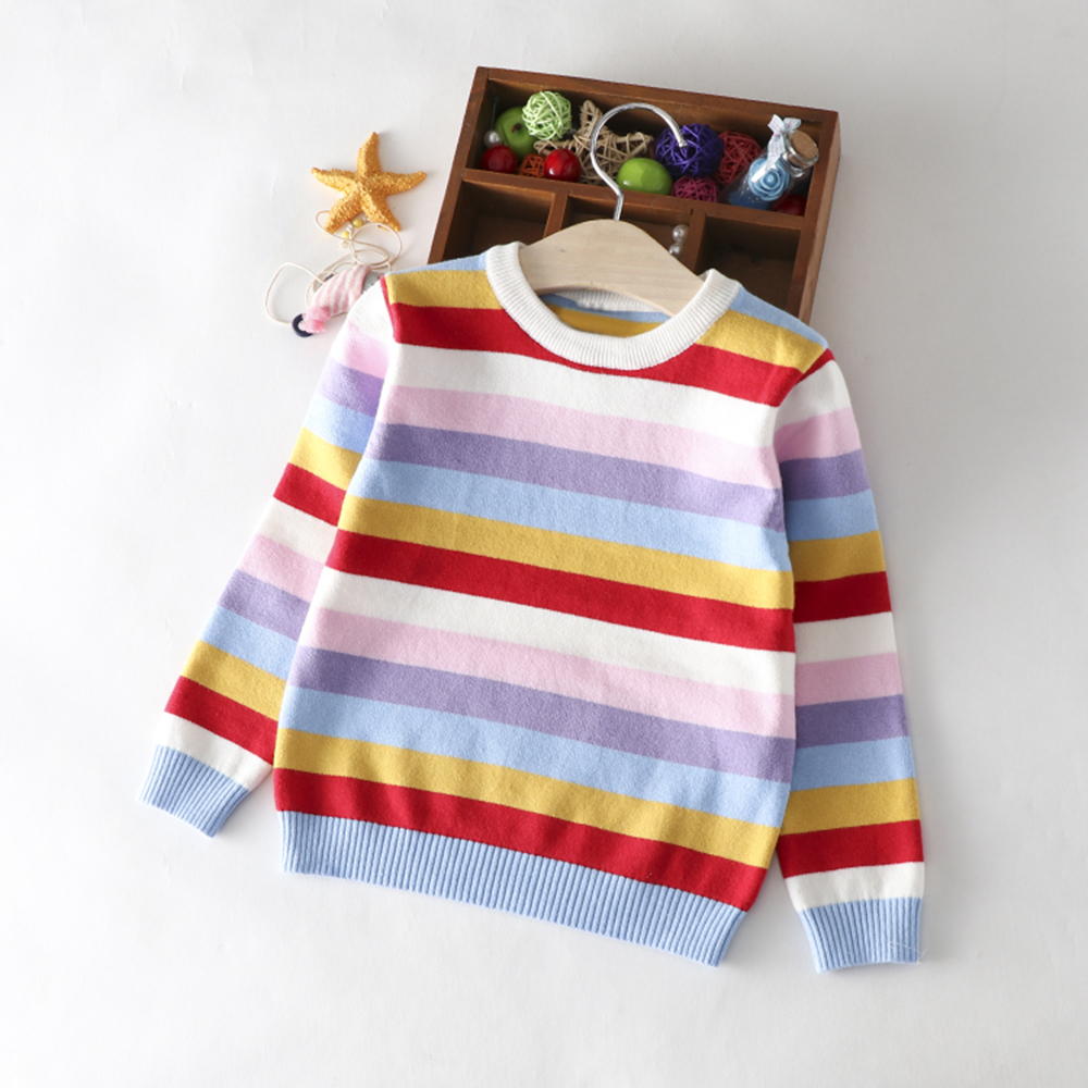 Novelty Toddler Kids Baby Girls Boys Long Sleeve Rainbow Knitted Sweater Outfits