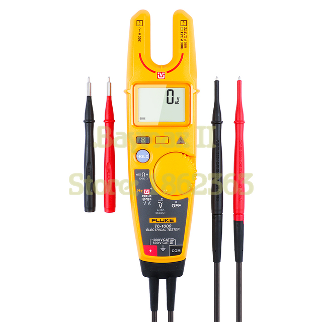 Fluke T6 1000 Non Contact AC True RMS Voltage/Current Clamp Meter with Hz, Resistance Test