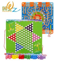 MWZ 2 in 1 Magnetic Maze with Checkers Double faced Labyrinth Educational Toys Parent child Interactive Toys